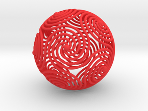 Spiraling Icosahedron | 4mm in Red Processed Versatile Plastic