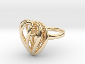 Heart Cage Ring in 14K Yellow Gold