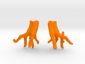 Fly Gloves in Orange Processed Versatile Plastic: Small