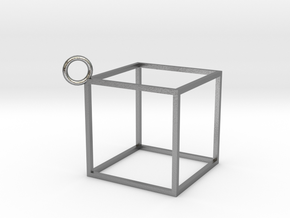 Square Earings - Pendant in Natural Silver