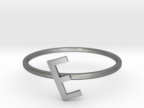Letter E Ring in Polished Silver: 7 / 54