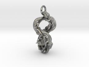 Reptile Möbius Pendant in Natural Silver