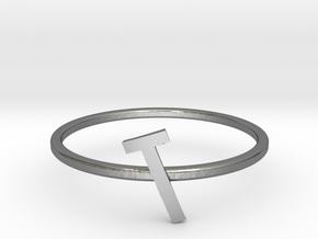 Letter T Ring in Polished Silver: 7 / 54