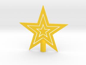 "Star tree topper Christmas -Medium 16cm 6¼"" Strong in Yellow Processed Versatile Plastic: Medium"