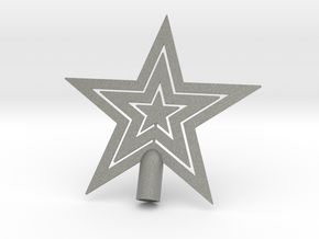 """Star tree topper Christmas - Small Strong 10cm 4"""" in Gray PA12"""