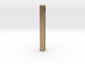 Happy Birthday Vertical Bar Pendant in Polished Gold Steel