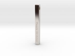 Happy Birthday Vertical Bar Pendant in Rhodium Plated Brass