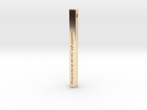 "Vertical Bar Customized Pendant ""Beautiful girl yo in 14K Yellow Gold"