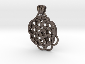 Chain Mail Pendant B in Polished Bronzed-Silver Steel