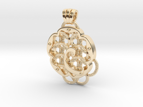 Chain Mail Pendant C in 14k Gold Plated Brass