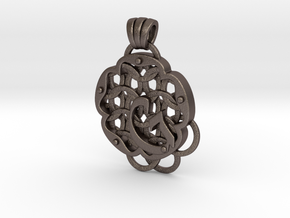 Chain Mail Pendant G in Polished Bronzed-Silver Steel