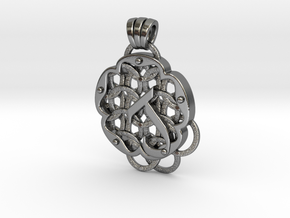 Chain Mail Pendant J in Polished Silver