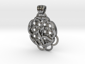 Chain Mail Pendant K in Polished Silver