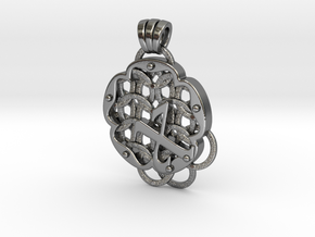 Chain Mail Pendant X in Polished Silver