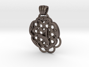 Chain Mail Pendant Y in Polished Bronzed-Silver Steel