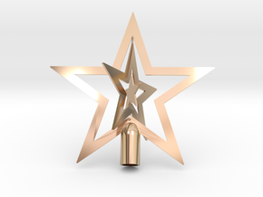 """Star spark tree topper Christmas - Small 10cm 4"""" in 14k Rose Gold Plated Brass"""