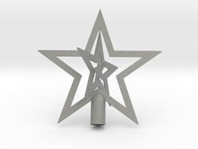"""Star spark tree topper Christmas - Small 10cm 4"""" in Gray PA12"""