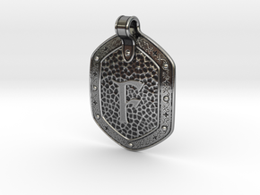 Hammered Pendant F in Antique Silver