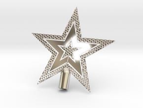 "Star Glistening Tree Topper - 10cm 4""  in Rhodium Plated Brass"