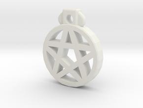 Pentagram Pendant in White Natural Versatile Plastic