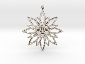 Blooming Hamsa Hand Flower Jewelry Pendant in Platinum