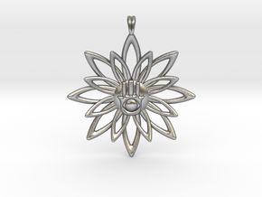 Blooming Hamsa Hand Flower Jewelry Pendant in Natural Silver