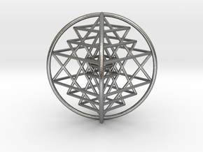 "3D Sri Yantra 4 Sided Optimal 3"" in Natural Silver"