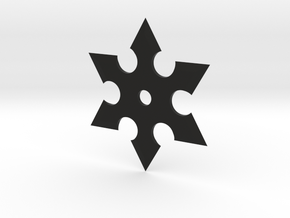 Hex Shuriken in Black Natural Versatile Plastic: Medium