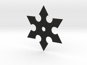 Hex Shuriken in Black Natural Versatile Plastic: Medium