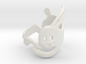 Run Rabbit Ring in White Natural Versatile Plastic