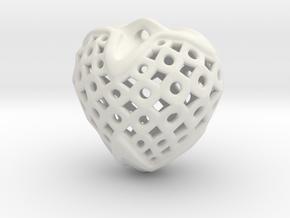 Circles & Squares Pendant in White Natural Versatile Plastic