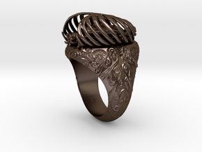 """My Beloved"" Ribcaged Heart Ring in Polished Bronze Steel"