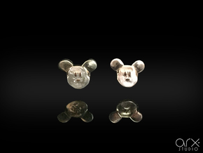 Mickey Mouse Earrings in Polished Silver: Small