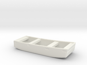 1/128 Scale 10 ft Punt General Purpose Work Boat U in White Natural Versatile Plastic