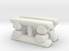 Log Bench (x4) 1/24 in White Natural Versatile Plastic
