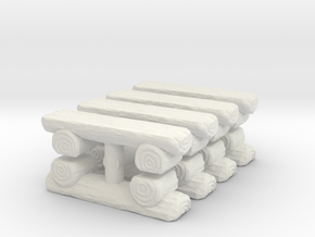 Log Bench (x8) 1/200 in White Natural Versatile Plastic