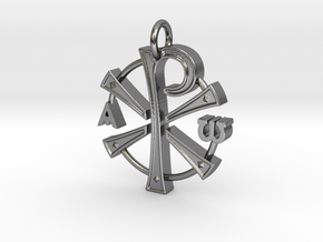 Chi Rho Pendant in Polished Silver