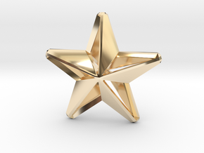 Five pointed star earring assemble Xmas-Medium 2cm in 14k Gold Plated Brass