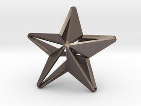 Five pointed star earring - Medium Large 3cm in Polished Bronzed-Silver Steel