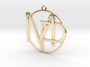 M&P Monogram Pendant in 14k Gold Plated Brass