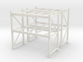 1/50th Shop or Warehouse pallet rack shelving (2) in White Natural Versatile Plastic