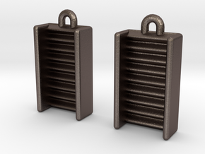 DRAW earrings - EDI potential wells in Polished Bronzed Silver Steel