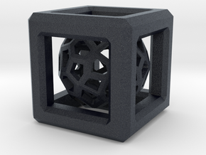 Faceted dome inside a cube in Black PA12
