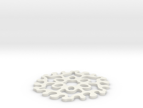 Drink Coaster - Interlocking - Ovals Pattern in White Natural Versatile Plastic