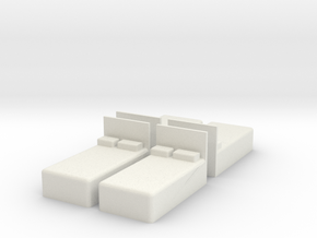 Twin Bed (x4) 1/87 in White Natural Versatile Plastic