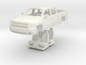 1:64 Chevy Silverado 4 door in White Natural Versatile Plastic