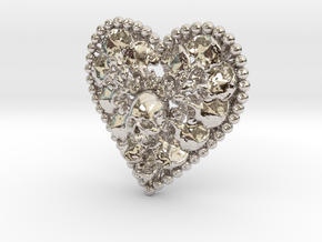 Heart Bone Pendant in Rhodium Plated Brass
