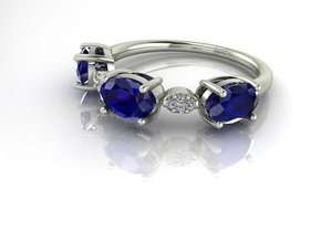 3 Stone dress ring 2 NO STONES SUPPLIED in Fine Detail Polished Silver