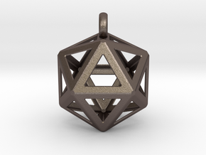 Icosahedron pendant in Polished Bronzed-Silver Steel