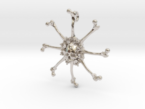 Vehmic Bone Pendant in Rhodium Plated Brass